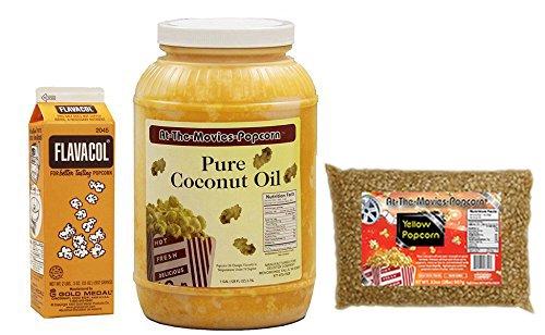 Coconut Popcorn Popping Oil (Gallon) & Flavocol Combo (Yellow Popcorn)