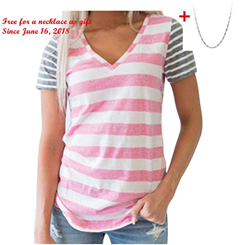 Challyhope Womens Summer Casual T-Shirt Striped Splice Short Sleeved V-Neck Blouse (M, Pink)