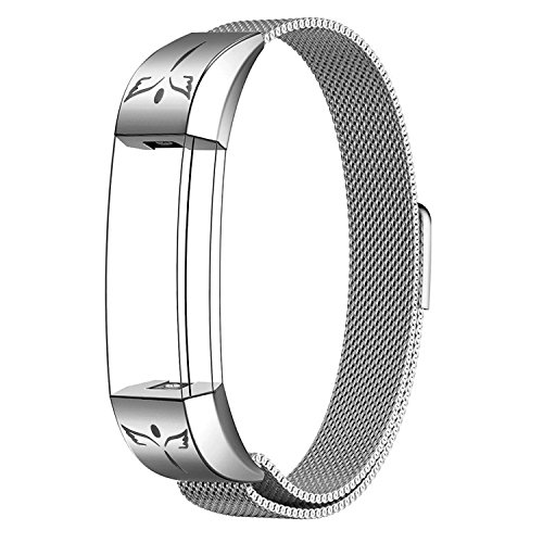 SWEES Metal Bands Compatible Fitbit Alta & Fitbit Alta HR, Milanese Stainless Steel Metal Sculpture Dressy Design Replacement Accessories Small for Women, Silver, Black, Silver, Colorful, Rose Gold