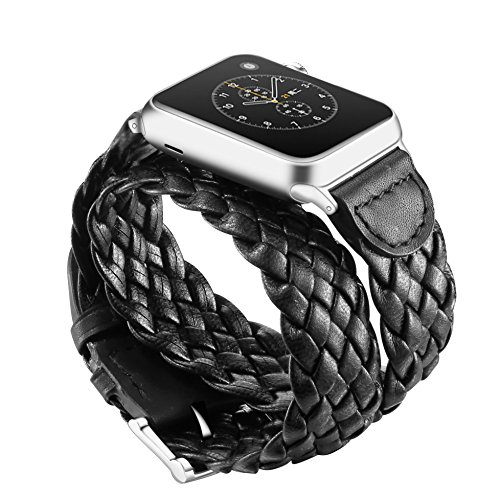 Elobeth for Apple Watch Band,iWatch Band Weave Leather Watch Strap Wrist Band Replacement Clasp for Apple Watch & Sport & Edition Series 2 Series 1 Black 38mm Photo #5