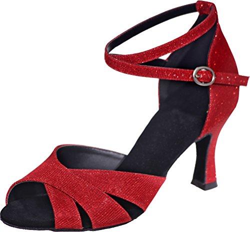 Femmes Cha Chaussures Toe Belles Latino Swing Salle Rouge Trouver Bal Danse Pu Partie cha Sole Mariage Glitter Tango 3in Pour Cheville Pratique Sudue Peep De Party Bretelles AEvgxwqx0