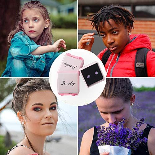 DOMEI Sterling Silver Stud Earrings Cubic Zirconia, Hypoallergenic Diamond Stud Earrings, Cubic Zirconia Earrings Studs for Women(Pink)