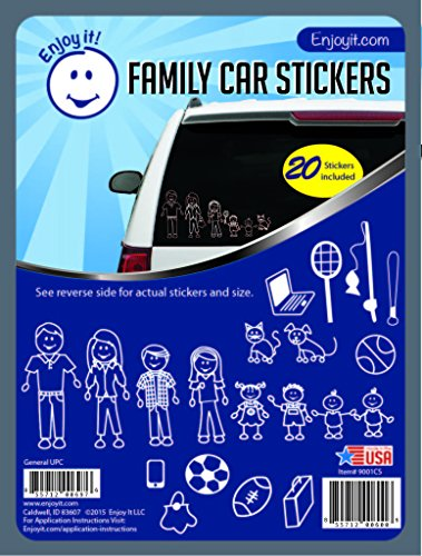 Enjoy It Traditional Family Car Stickers Stick Figure Family, 20 pieces, Outdoor Rated Vinyl Sticker Decals (Figure Car Stick Sticker)