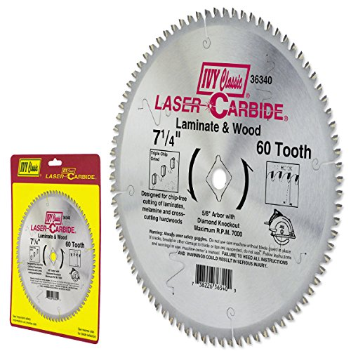 IVY Classic 36340 Laser Carbide 7-1/4-Inch 60 Tooth Laminate and Wood Cutting Circular Saw Blade with 5/8-Inch Diamond Knockout Arbor, 1/Card