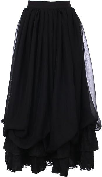 Fanplusfriend Gothic Fairy Gonna Lunga In Cotone E Mussola Nera Nero Xl Amazon It Abbigliamento