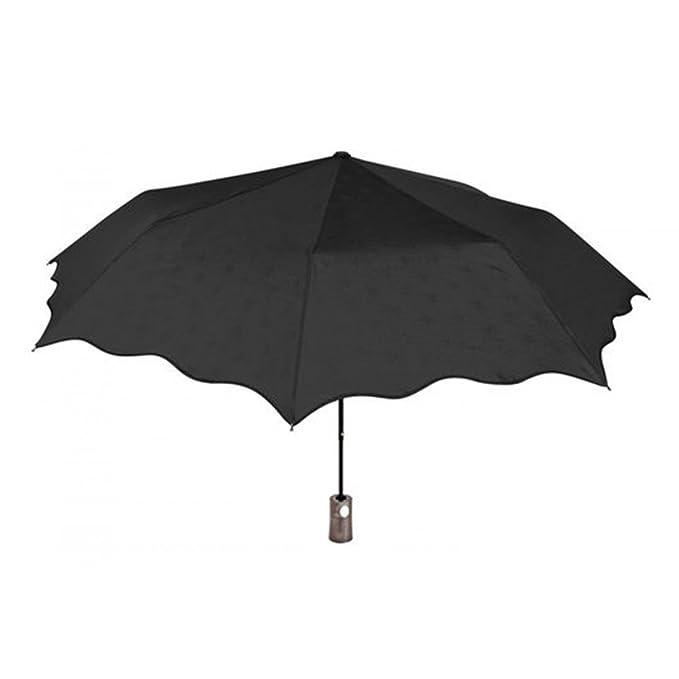 PERLETTI CHIC Paraguas mujer automático mini negro fantasía flores O61