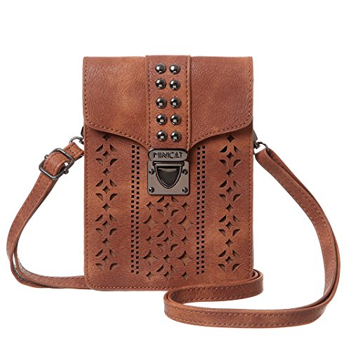 MINICAT Women RFID Blocking Small Crossbody Bags Cell Phone Purse Wallet With Credit Card Slots(Brown)