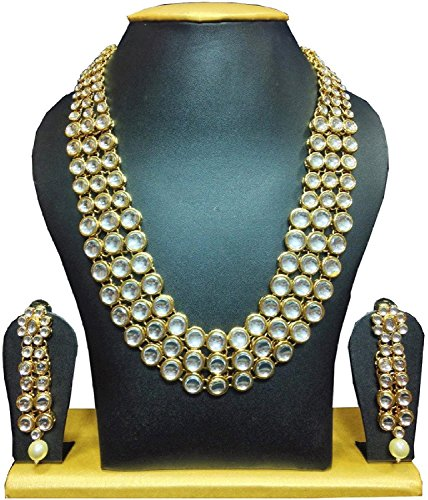 I Jewels Gold Plated Kundan Necklace Jewellery Set for Women IJ301W (White)