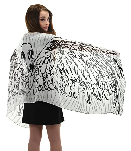 elope White Feather Wings Lightweight Scarf]()