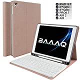 Baaaq iPad Keyboard Case for iPad 2018 (6th Gen) - iPad 2017 (5th Gen) - iPad Pro 9.7 - iPad Air 2 & 1 - Wireless Bluetooth - iPad case with Keyboard & Pencil Holder (9.7, Pink)