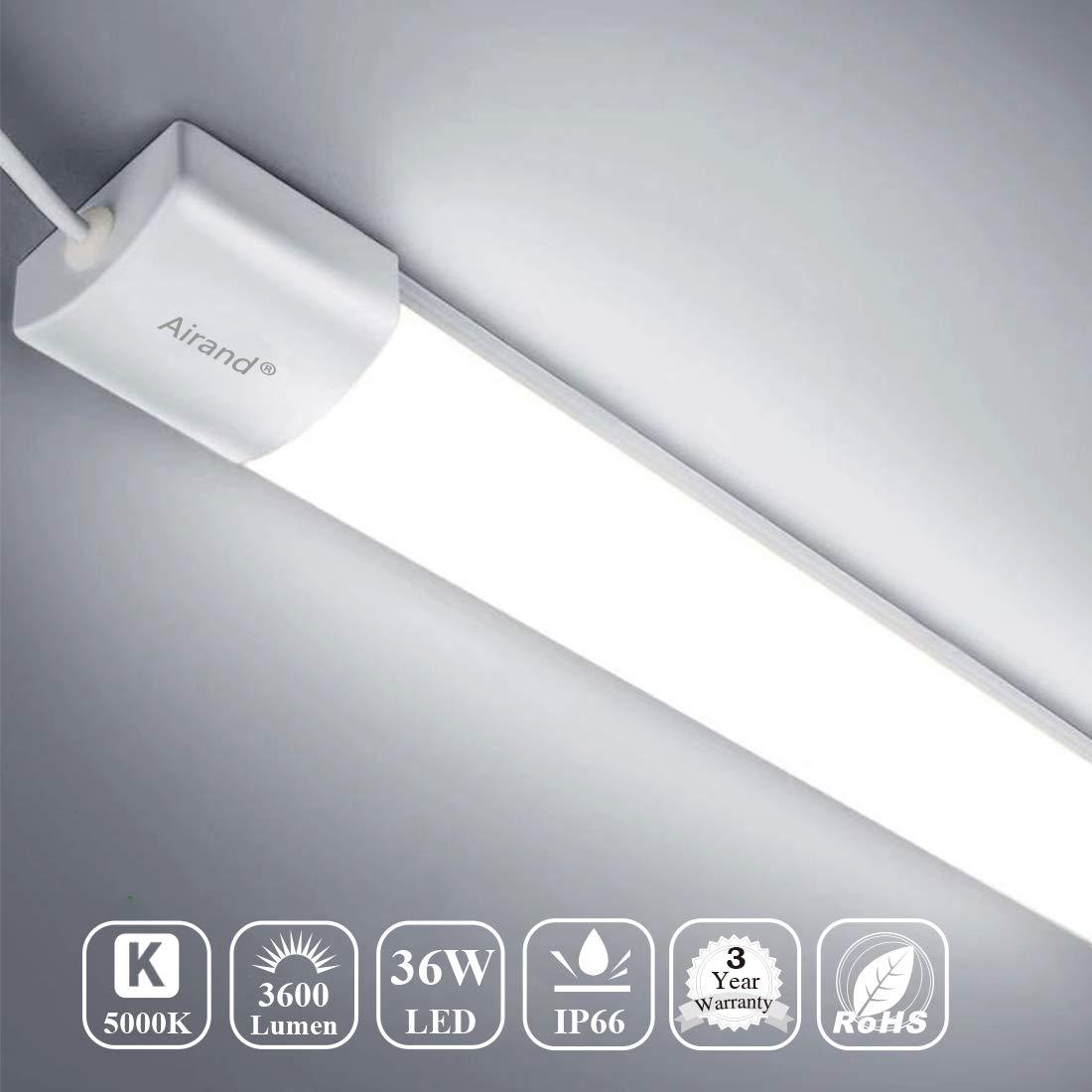 Airand 5000K LED Ceiling Light Flush Mount 36W 4FT