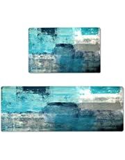 """Kitchen Mat 2 PCS Teal Kitchen Rugs and Mats Turquoise and Grey Abstract Art Cushioned Anti-Fatigue Kitchen Rugs 17""""X48""""+17""""X24"""" Kitchen Decor Non-Slip Kitchen Rug Set for Kitchen Floor"""