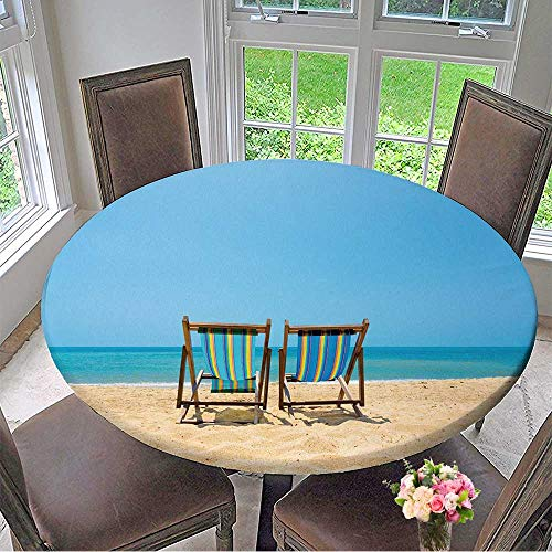 (Mikihome Luxury Round Table Cloth for Home use Two Lounge Chairs on a Beach for Buffet Table, Holiday Dinner 67