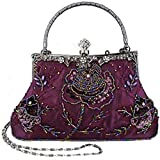 Belsen Women's Vintage Beaded Sequin Evening Handbags (Purple)