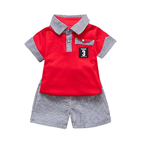 Yamally_9R 2Pcs Summer Toddler Kids Baby Boy Short Sleeve Letter Printed T-Shirt Tops+Striped Shorts Outfits Clothes Set (18M, Red 02)