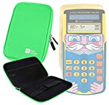 DURAGADGET Green Hard Portable EVA Case With Zipper for the Texas Instruments Little Professor Solar