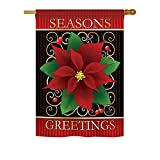 Breeze Decor – Seasons Greetings Poinsettia Winter – Seasonal Xmas Impressions Decorative Vertical House Flag 28″ x 40″ For Sale