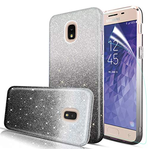 IRUNME Cases Compatible Samsung Galaxy J7 2018/J7 Refine/J7 Star /J7 V 2nd Gen/J7 Crown/J7 TOP/ J7 Aero/ J7 Aura Phone Case with Soft Screen Protector Three Layer Glitter Bling for Girls Silver Black