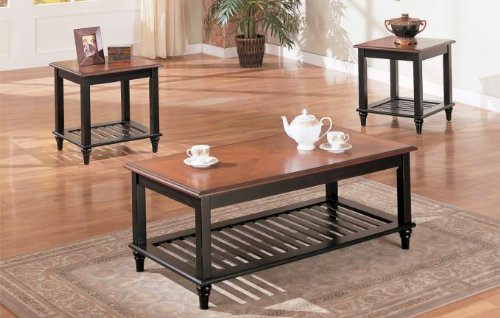 Amazon.com: 3 Pc. Set Solid Wood Coffee Table With 2 End Tables With Shelf  In Walnut U0026 Black Finish: Kitchen U0026 Dining