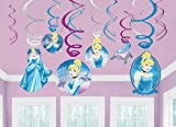 Disney Cinderella Decorative Foil Hanging Swirls Birthday Party Decoration (12 Pack), Multi Color.