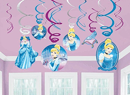 Amscan Disney Cinderella Decorative Foil Hanging Swirls Birthday Party Decoration (12 Pack), Multi Color.