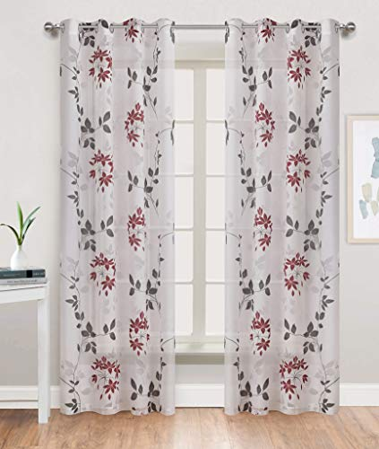 Gold Dandelion Sheer Print Curtains for Bedroom White Burnout Base with Red/Grey Ivy Floral Thin and Soft Grommet Top 52 by 84 inch Long 1 Pair Christmas Red (Panels Print Sheer Curtain)