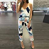 Two Piece Set,Fheaven Women's Fashion Casual Geometric Print Camis Tops+Pants Clothes (S, Blue)