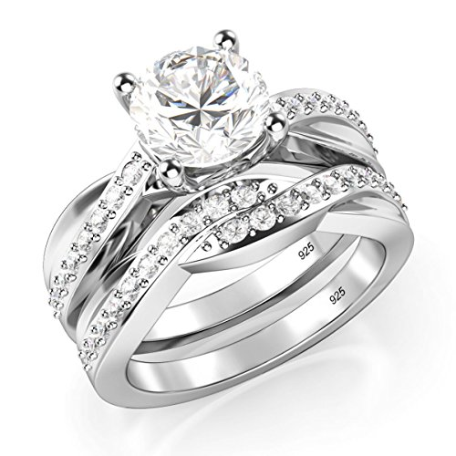 Sz 8 Sterling Silver 925 Round Brilliant Cut Cubic Zirconia CZ Engagement (Tiffany Round Ring)