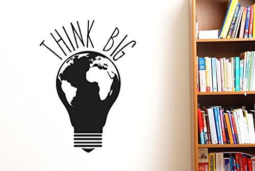 CUT IT OUT Think Big Earth Light Bulb Wall Stickers Art...