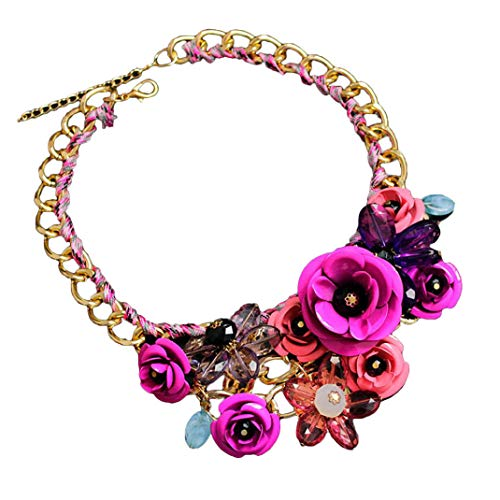 DZT1968 Women Mixed Style Chain Crystal Colorful Flower Luxury Weave Necklace (Purple)