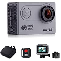 H9R Action Video Camera 4K Wifi Waterproof Sports Camera Full HD 4k 30fps 1080P 60fps 720p120fps Ultra HD Camera 16MP Photo and 170 Wide Angle Lens 2 Rechargeable 1050mAh Batteries Gray