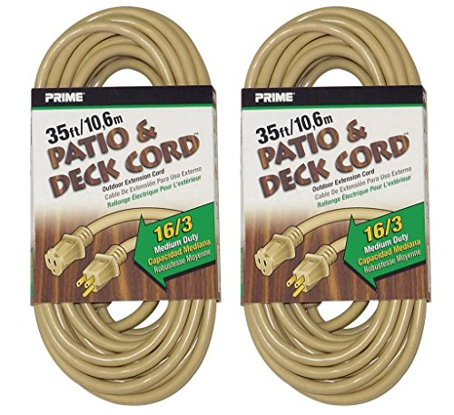 (Prime Wire & Cable EC884627 35-Foot 16/3 SJTW Patio and Deck Extension Cord, Beige, 2-Pack)