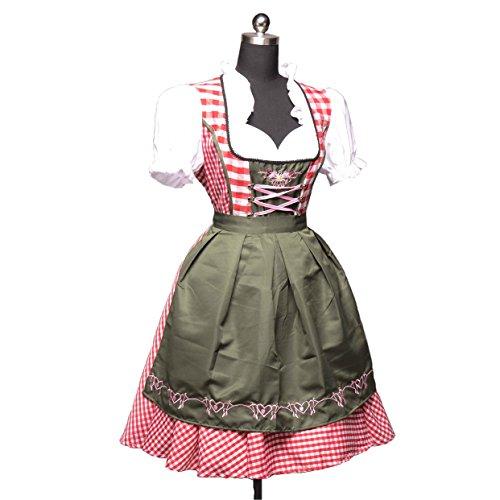 KAGU CULTURE 2 tlg. Oktoberfest Dirndl Set - Kleid, Bluse, Schürze Rot, Rot+dunkelgrün, XL