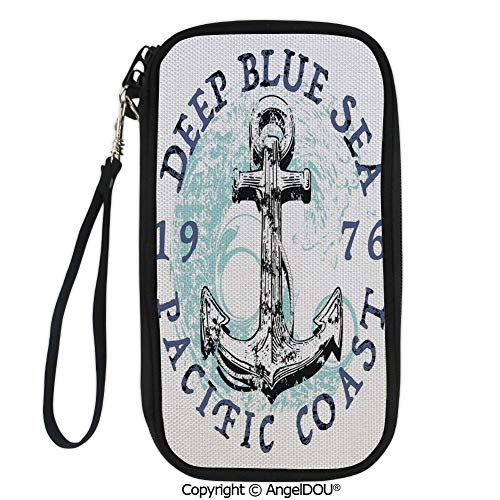 PUTIEN Portable diagonal dual-use samll Purse Deep Blue Sea Pacific Coast Vintage Emblem from 1976 Grungy Display Decorative for Shopping travel picnic business.