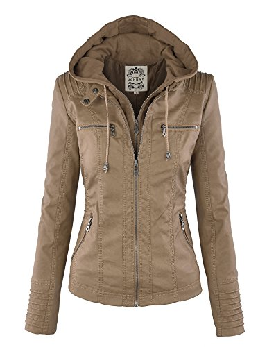 LL WJC663 Womens Removable Hoodie Motorcyle Jacket XL KHAKI
