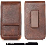 Galaxy S6 Edge Holster,Amy Universal High Grade Leather Vertical Smartphone Holster Apple iPhone 6 6S Rotating Belt Clip Casewith Clip Leather Belt Pouch Holster Cover for HTC ONE M8/M9(5 inch-Black)
