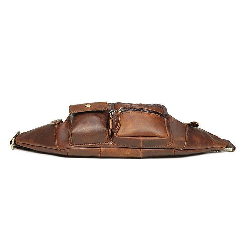 Leather Man Bag Mens Messenger Shoulder Bag Mobile Phone Belt Pouch with Top Handle 18.5x5x12cm,#1
