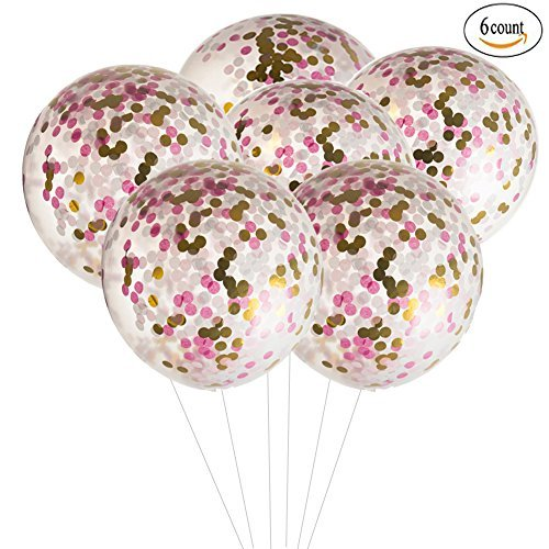 MOWO 36 inch Jumbo Confetti Balloons Giant Clear Latex Helium Balloons Large Pink and Gold Fuchsia Tissue Paper Confetti Balloons Wedding Decoration New Years Eve Party Christmas Decor ()