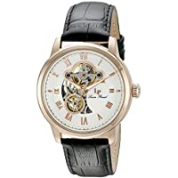Lucien Piccard Men's LP-12524-RG-02 Optima Rose Gold-Tone Stainless Steel Automatic Watch with Black Leather Band
