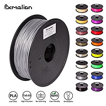 Pxmalion PLA 3D Filament, Silver, 1.75mm, Accuracy +/- 0.03mm, Net Weight 1KG(2.2LB), Compatible with most 3D Printer & 3D Printing Pen