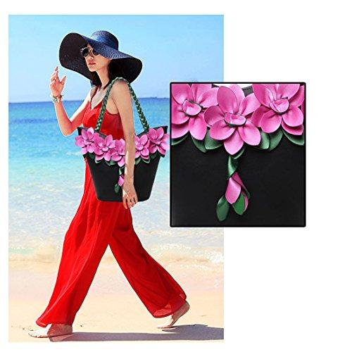 pour Bandoulière Main KAXIDY Fleur Sac Sac Mariée Sac Main Soirée Sac Porte Noir à Femme Mariage awBIqPBf