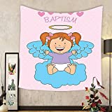 Gzhihine Custom tapestry Baptism Decorations Tapestry Baptism Sitting Sleeping Crawling Smiling Babies On Clouds Catholic Children Party Bedroom Living Room Dorm Decor