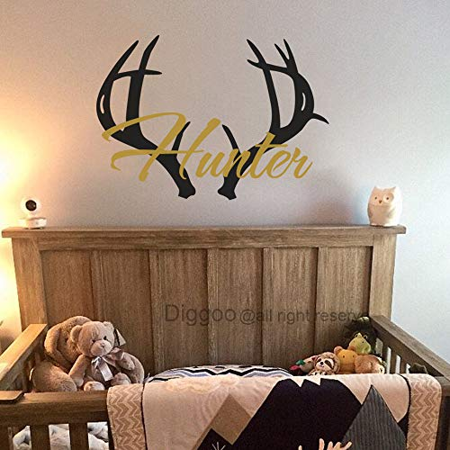 Antler Wall Decal Personalized Boys Name Wall Decal Boys Nursery Decor Hunting Deer Antlers Decal Kids Room Decor 21.5