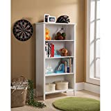 Traditional, Transitional 4-tier White Bookcase (BK125). 28 in Wide x 12 in Long x 52 in High - Assembly Required