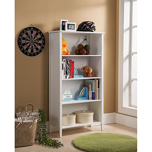 Traditional, Transitional 4-tier White Bookcase (BK125). 28 in Wide x 12 in Long x 52 in High - Assembly Required by KB