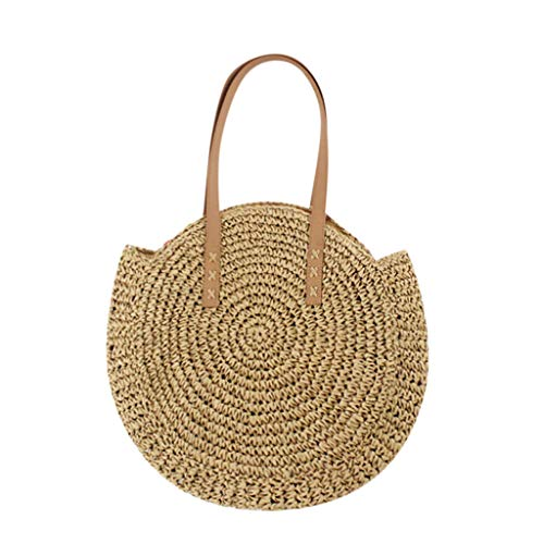 Londony ✡ Womens Rattan Bag Shoulder Leather Straps Natural Chic Handbag Rattan Bag Colorful Batik Linen Coffee ()