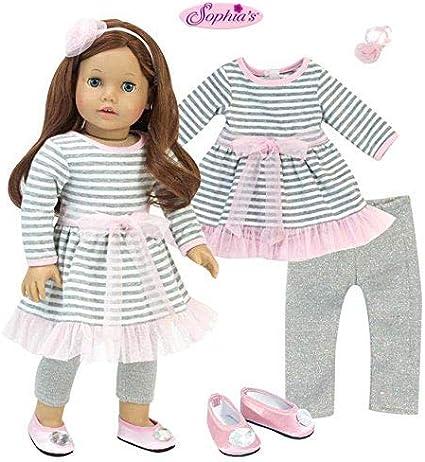 """Sophia/'s BLUE T-SHIRT DRESS /& STRIPED LEGGINGS for 18/"""" Dolls American Girl NEW"""