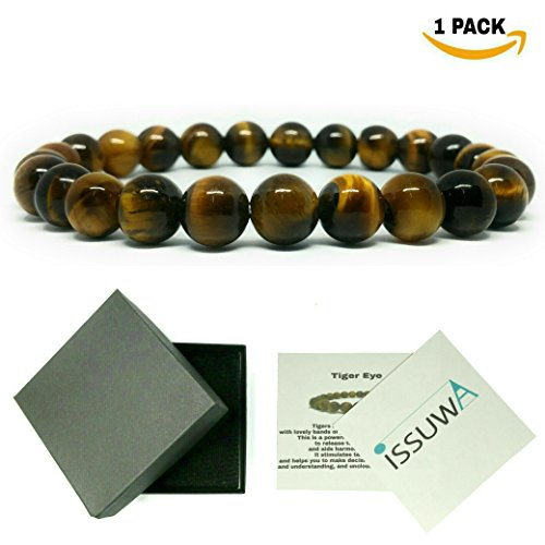 Tiger Brown Bracelet - ISSUWA Natural Stone Bracelet 8mm Stretch Stone Bracelet 7