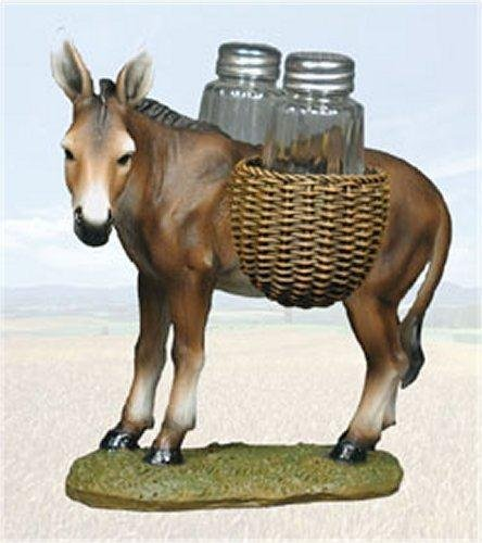 DWK Donkey Mule Animal Saddlebags Of Spice Figurine Salt Pepper Shakers Holder Kitchen Decor Centerpiece Farmers
