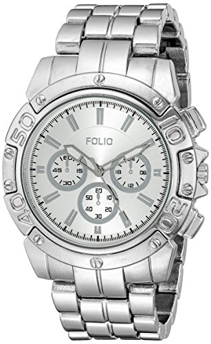 Folio Men's FMDMSG048 Analog Display Quartz Silver Watch - Folio Watch